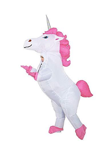 JYZCOS Disfraz de Unicornio Inflable con Caballo de Cuerno