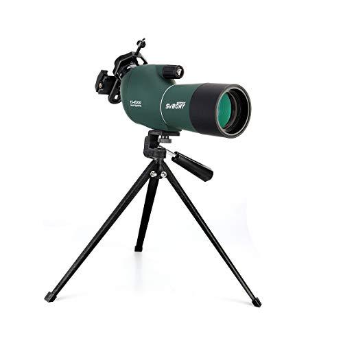 SVBONY SV28 フィールドスコープ スポッティングスコープ 望遠鏡 高倍率 傾斜型 15-45x 50mm 多層コーティング IP65防水 汎用スマホアダプタ付き 卓上三脚付き 野鳥観察 星空観測 バードウォッチング オリンピック
