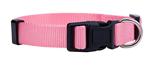 Native Pup Basic Nylon Dog Collar, Adjustable for Small, Medium, Large pet and Puppies Accessories, Cute Colors for Male, Female, boy, Girl, Puppy (Medium, Pink)