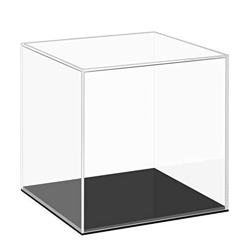 Cliselda Acryl Vitrine Schaukasten mit Schwarzer Basis für Modellautos, Figuren | 15 x 15 x 15cm | Transparent