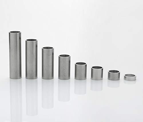Edelstahl Distanzhülsen, Abstandshülsen – ohne Innengewinde, M12 Schrauben beweglich durchsteckbar – 16 x 13 x 1.5 mm (Außen x Innen x Wandstärke) – 20 Stück, Länge 100 mm