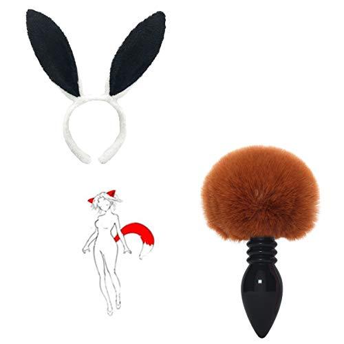 Diadema de oreja de liebre peluda cola de bola de pelo suave chica accesorios de entrenamiento de vacaciones accesorios para ella