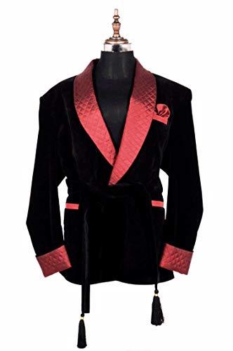 Zainabexports Mens Christmas Party Wear Black Velvet Smoking Jackets Blazers (XL)
