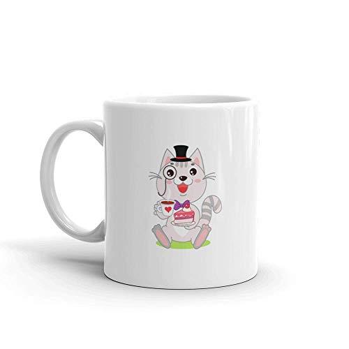 Porzellan Kaffeebecher,Porzellantasse,Große Teebecher,Keramik Tasse,Lustige Katze In Melone Und Monokel Wie Ein Herr