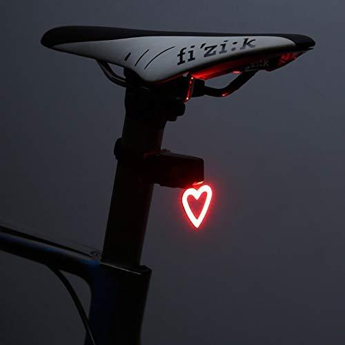 Sdiany Fahrrad Rücklicht USB Lade Rücklicht Nachtfahrten Rennrad Reiten Rücklichter 5 Arten Von Blinkmodus (Herz)
