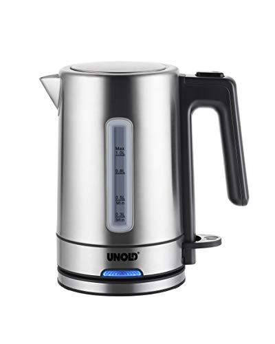 UNOLD 18020 One - Hervidor de agua (1 L, 1850 W, tapa con cierre de seguridad, protección de ebullición en seco con apagado automático, 1850, 1 litro, acero inoxidable), color negro