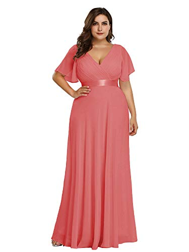 Ever-Pretty Plus Size V-Neck Empire Waist Bridesmaid Formal Wedding Guest Gown Coral US16