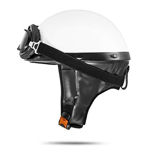 VEBStandard ATO-Moto Retro Motorradhelm Oldtimer Helm Halbschale Weiß mit Brille Größe S M L XL (L 59cm - 60cm)