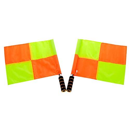 LIOOBO 2Pcs Hand Signalflaggen Wasserdicht Fluoreszierende Leichte Schiedsrichter Flagge Kommandoflagge für Fußball Fußball Sportspiel