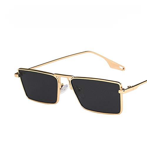NJJX Gafas De Sol Pequeñas Estrechas Vintage Para Mujer, Gafas De Sol Con Montura Metálica De Marca De Lujo, Gafas De Conducción Rectangulares, Gafas De Pesca Para Hombres, Gris Dorado