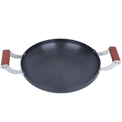 yunyu Paellera, batería de Cocina, con Asas Dobles de Madera Anti-escaldado, Bandeja de Aluminio, Adecuada para una Variedad de Gas, Bandeja para Asar fácil de Limpiar / 26 CM