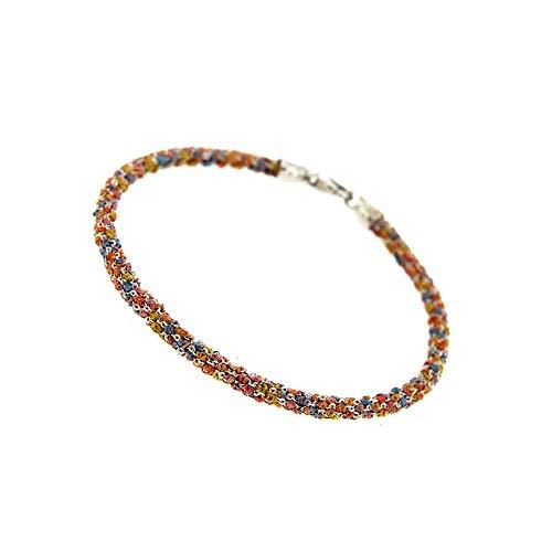 Etru Jewels Handgemaakte Vrouw Armband Tondo Wit Zilver gaas Multi kleuren Draadrood