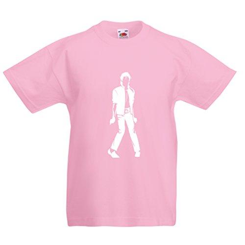 lepni.me Camiseta para Niño/Niña Me Encanta M J - Rey del Pop, 80s, 90s Músicamente Camisa, Ropa de Fiesta (7-8 Years Rosado Blanco)