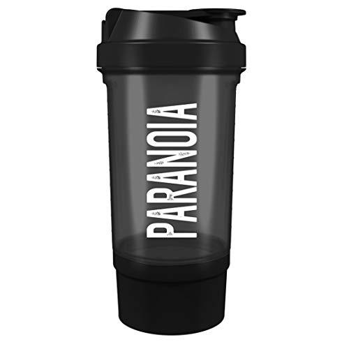 OS NUTRITION PARANOIA Shaker 500 ml mit Siebeinsatz und Extra-Pulverfach (Schwarz)