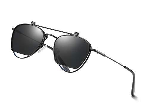 Slick&Archway Aufklapp-Sonnenbrille Retro, Flip-up Herren Schwarz, Old School Steampunk-Brille zum Aufklappen, Vintage-Accessoir für Retro-Look, Sonnenbrille klappbar im Aviator-Stil