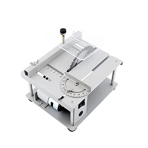 Sierra de mesa multifuncional de 150W Mini cortadora de sierra de escritorio Máquina de corte eléctrica con hoja de sierra Ajuste de ángulo de velocidad ajustable Profundidad de corte de 40 mm