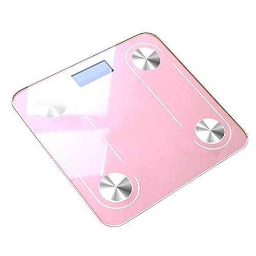 DFJU Báscula de Grasa Corporal Humana Vidrio de Piso Báscula electrónica Inteligente Báscula de Peso Digital USB Pérdida de Peso Báscula de baño Báscula Bluetooth Durable (Color: Negro)