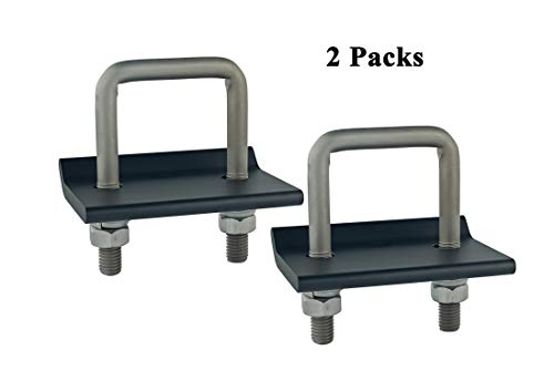 TOPTOW 64707 Trailer Hitch Tightener Anti Rattle Clamp for 1.25 Inch and 2 Inch Receiver Hitches, Black Aluminum Stabilizer Plate, 2 Packs