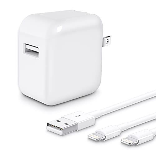 iPad Charger,【Apple MFi Certified】 2.4A 12W USB Wall Charger Foldable Portable Travel Plug with 2-Pack Lightning to USB Cable Compatible with iPhone, iPad, iPod, Airpods and More (3.3FT)