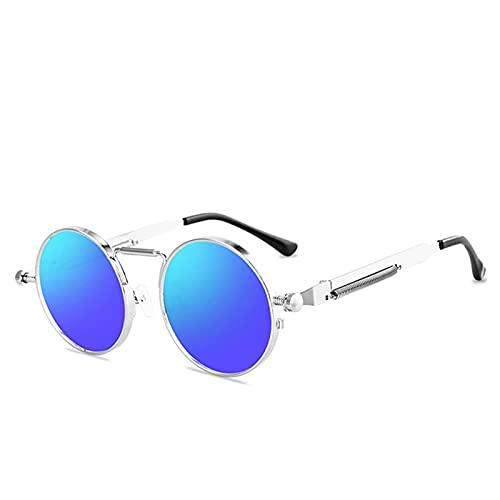 YYCHER Gafas de sol de estilo vintage punk para hombre, estilo retro, redondo, marco de metal, para mujer, gafas de sol, sol mujer UV400 (lentes color: C11)