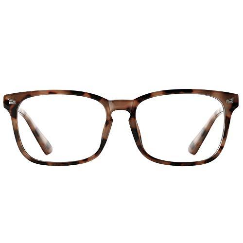 TIJN Blue Light Blocking Glasses for Women Men Clear Frame Square Nerd Eyeglasses Anti Blue Ray Computer Screen Glasses (Tortoise)