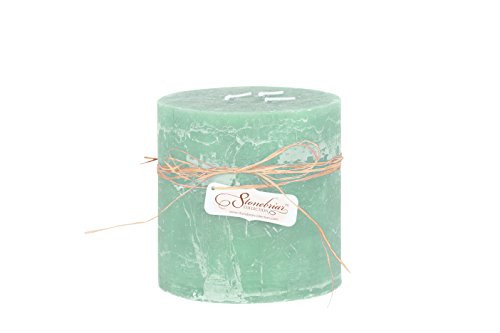 Stonebriar Textured Pillar Candle, 6 by 6-Inch, Seafoam