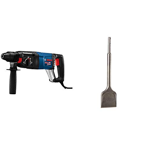 Bosch 11255VSR Bulldog Xtreme - Corded Variable Speed Sds-Plus Concrete/Masonry Rotary Hammer Power Drill & HS1427 SDS-Plus Hammer Shank 2-1/2-Inch by 10-Inch Wide Steel Self-Sharpening Chisel