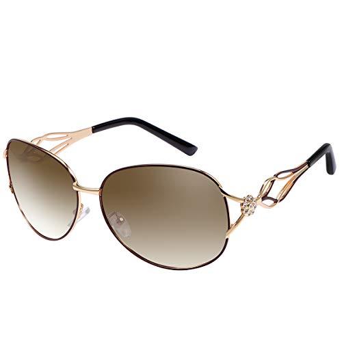 Gafas de Sol Polarizadas Mujer Señoras, De Moda Casual Estilo Oval Elegante Polarizado 100% Protección UV 400 de Gran Tamaño Oversized Unisex Gafas para Viajes Conducción con Diamante Anti Fatiga