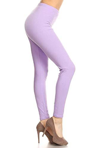 SXL128-Lilac Basic Solid Leggings, Plus Size