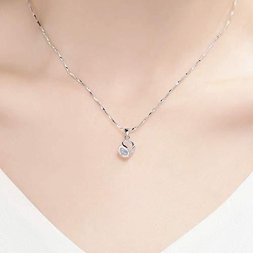 Ikpdbw S999 Collar de Plata esterlina Ladies Cadena de clavícula Colgante Pequeña Marea Neta Rojo Ornamento Cumpleaños Día de San Valentín Regalo para Enviar Novia