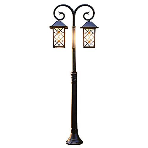 Farolillos para exteriores retro de doble cabezal para patio, a prueba de agua 1.4M / 55.1in Farolillo para poste al aire libre para el hogar, Lámpara para poste de decoración de jardín, Farol