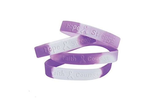 50 Purple Ribbon Camouflage Silicone Bracelets Support pancreatic cancer, Alzheimer's, lupus, animal abuse, Crohn's disease