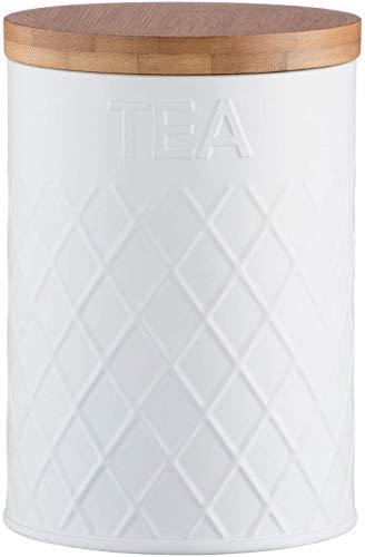 Typhoon Living en Relief à thé Boîte de Rangement, en Acier Inoxydable, Blanc, 11.5 x 11.5 x 16 cm