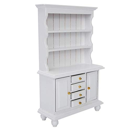 Mini gabinete de casa de muñecas, apariencia exquisita Material de madera Tamaño pequeño Ligero Mano de obra fina Estantería de casa de muñecas duradera, Niño para casa de(white)