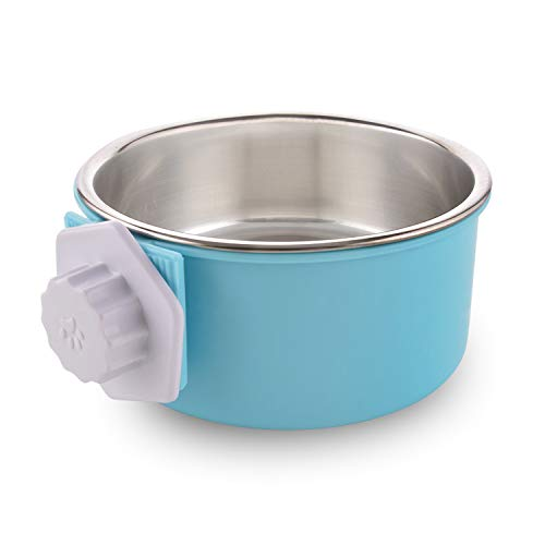 MOACC Crate Dog Bowl, Removable Stainless Steel Dog Bowl with Plastic Puppy Feeder Food Water Bowl for Dogs Cats Rabbits