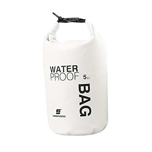 Waterproof Dry Bag Pouch for Camping Boating Kayaking Fishing Rafting Canoeing (White, 5L)