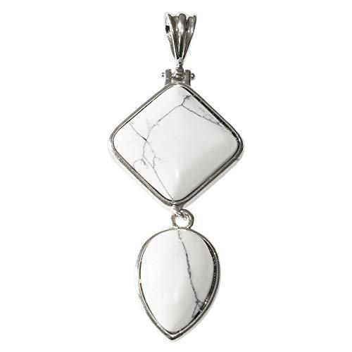 Beads Ok, Colgante Collar de Piedras Preciosas de Howlita Blanco Natural 65mm x 1 Pieza .Combinación de rombo cuadrado y forma de lágrima invertida.