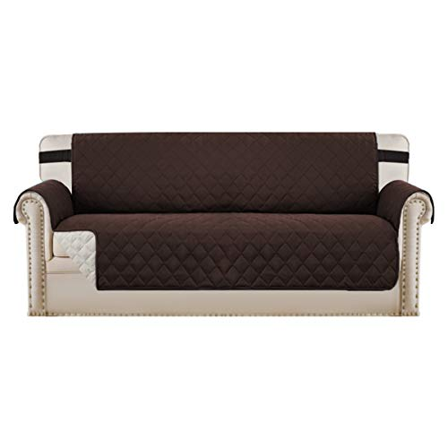 """H.VERSAILTEX Sofa Protector for Dogs/Cats/Pets Sofa Slipcover Quilted Furniture Protector with Non Slip Elastic Strap Water Resistant Sofa Covers Couch Covers Seat Width: 78"""", Brown/Beige"""