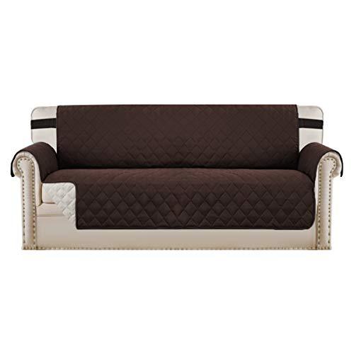 BellaHills Wendbare, weiche und wildlederähnliche Oberfläche in Handarbeit gefertigter Möbelbezug mit elastischen Riemen, verhindert Flecken/Fleckenschutz für übergroße Sofas (braun/beige)