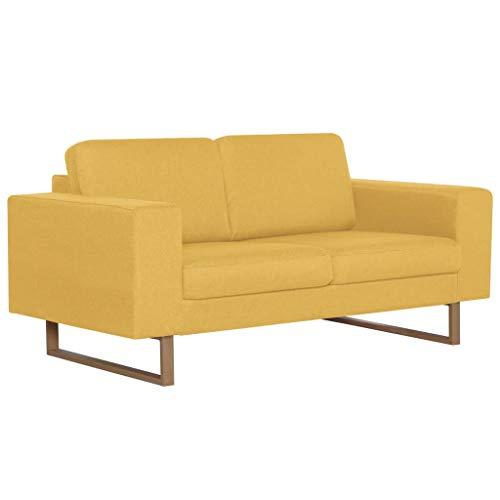 vidaXL Sofá de 2 Plazas Tela Color Amarillo Asiento Silla Sillón Taburete Tumbona Banquillo Mueble Mobiliario Adornos Salón Hogar Casa