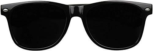 ShadyVEU Super Dark Lens Round Sunglasses UV Protection Spring Hinge Exclusive Retro 80's Migraine Shades (Glossy Black)