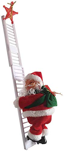 DankeSh Claus Climbing Ladder Electric Santa Climbing Rope Ladder Decoration,Xmas Party Home Door Wall Decoration