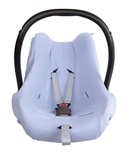 Kaarsgaren Funda de verano para portabebés, funda de asiento de coche de algodón orgánico, talla 0+, universal para, por ejemplo, Maxi-Cosi, City SPS, CabrioFix, Pebble (algodón orgánico azul, 0+)