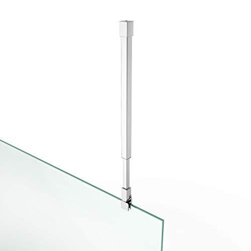 Haltestange Stabilisator Edelstahl Duschabtrennung Duschkabine Deckenmontage HS 15 Eckig Verstellbar 455-815 mm