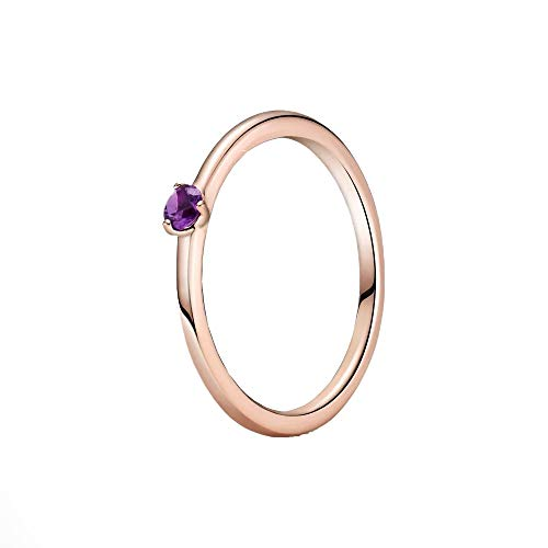 Pandora Colours Purple Solitaire Ring in 14ct Rose Gold Plated Sterling Silver with Purple Cubic Zirconia / Size P