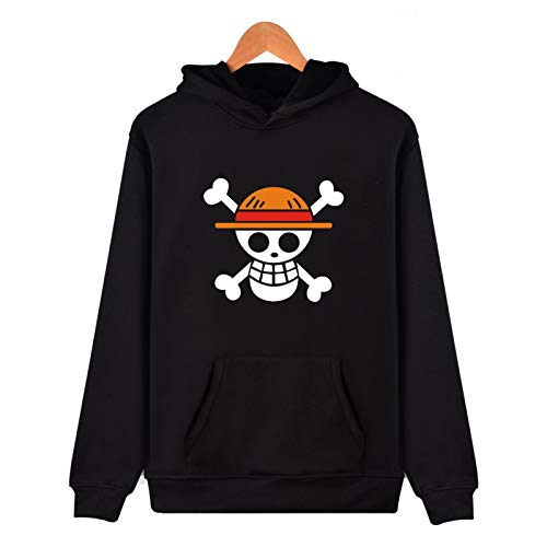 EDMKO Hombre One Piece Sudadera con Capucha Deportiva Manga Larga Hoodie Casual Camisa De 3D Anime Series Straw Hat Ropa Deportiva Jumper,XS