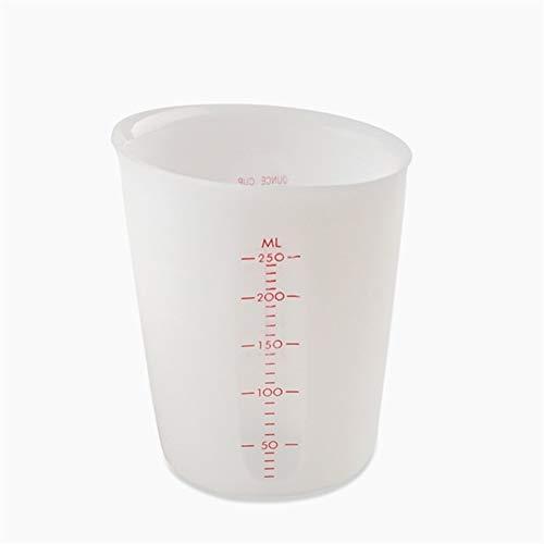 Vaso medidor Silicona Formas taza de medición Medición Escala Visual Copa 500ml 250ml Silicona de Calidad Alimenticia de las tazas de cocina Accesorios for herramientas (Color : 250ML)