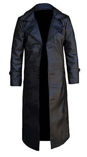 Herren Leder Trenchcoat für Männer Lange Jacke Vintage Distressed Ledermantel (Schwarz, M)