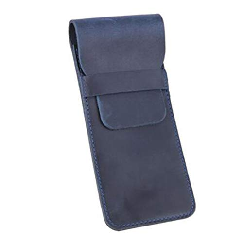 Kissherely Handgefertigte Ledertasche Ledertasche Vintage Stiftetui Halter Beutelhalter Etuihalter Briefpapier für Journal Travel,Blau