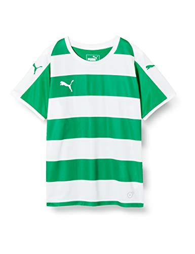 Puma Kinder Liga Jersey Hooped Jerseyshirt, Pepper Green White, 116